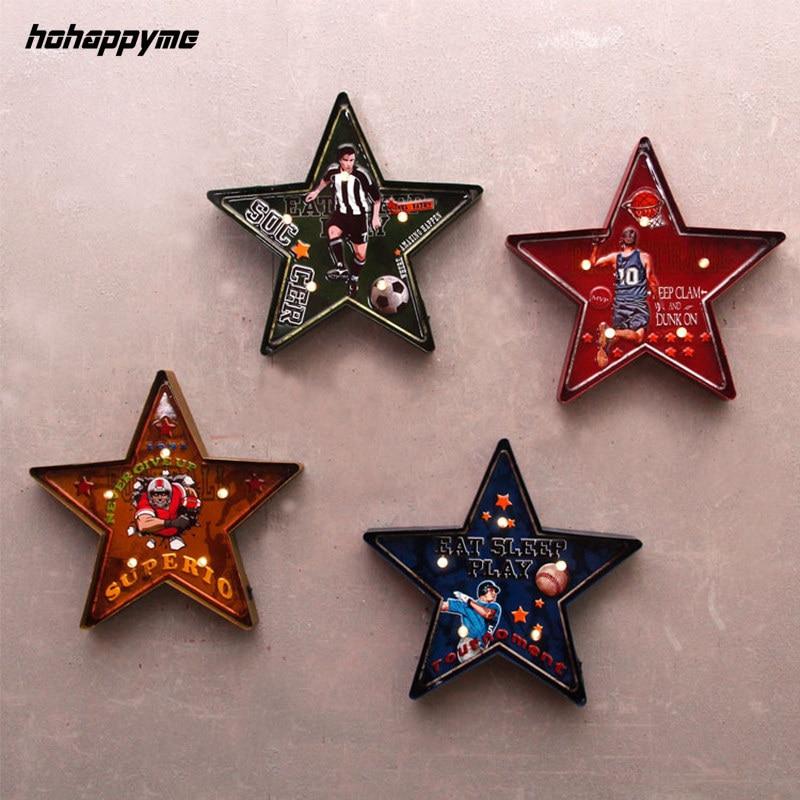 Étoile à cinq branches panneaux de LED Plaque de métal Garage Bar Vintage décor à la maison boîte à lumière Plaque rétro mur décoratif plaques Art affiche