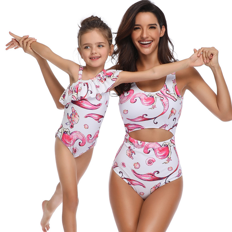 one piece mommy and me family swimsuit mom daughter matching clothes mum baby swimwear bikini Floral mum girl oufits look set