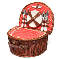 Portable Wicker Picnic Basket Hamper Flatware Set Wine Glass Picnic Cloth Lunch Box Dinnerware Kit Outdoor Camping Accessories