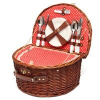Portable Wicker Picnic Basket Hamper Flatware Set Wine Glass Picnic Cloth Lunch Box Dinnerware Kit Outdoor Camping Accessories