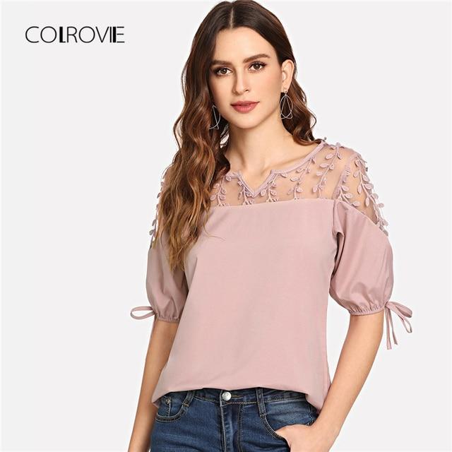 Black Knot Mesh Panel Blouse Shirt Pink Workwear Feminine Blouse Green Casual Half Sleeve Women Tops 2