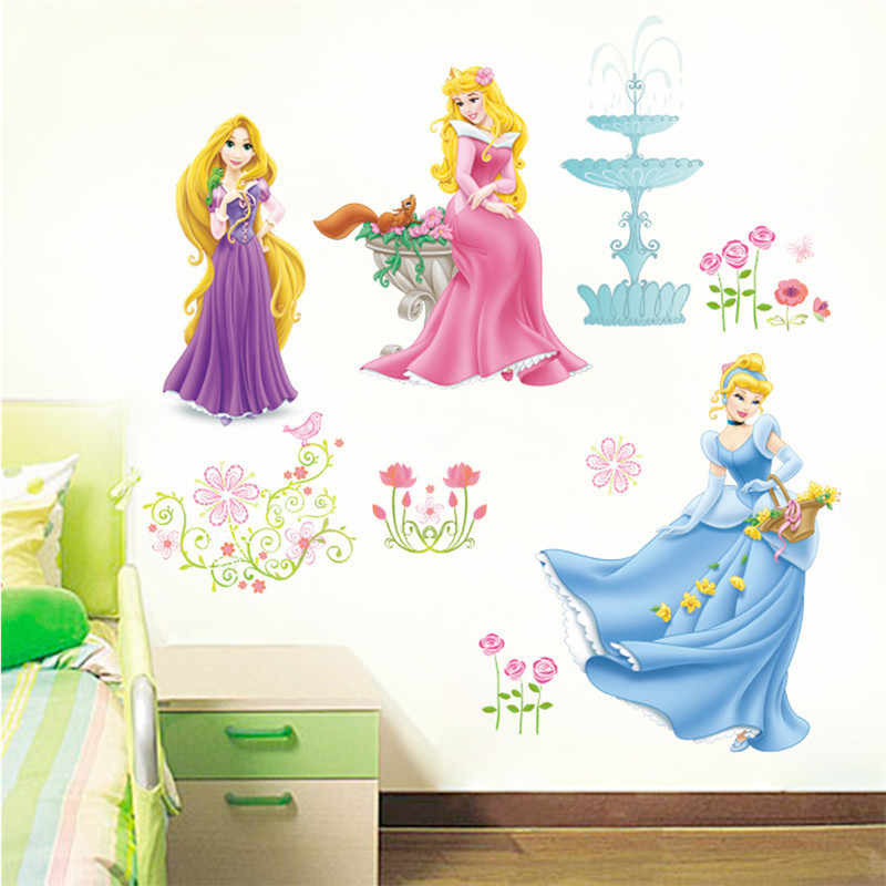 Dancing Princess Castle Moon Tree Flower Floral Height Measure Wall Sticker For Kids Room Butterfly House Home Decoration