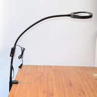 Desk Clip on Magnifying Glass Lamp Lighted Illuminated 10X Optical Magnifier for PCB Inspection, Beauty, Dentistry