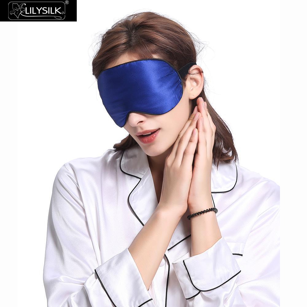82b837340 LilySilk Eye Mask Sleep Silk With Black Trimming Blue Free Shipping on  Aliexpress.com