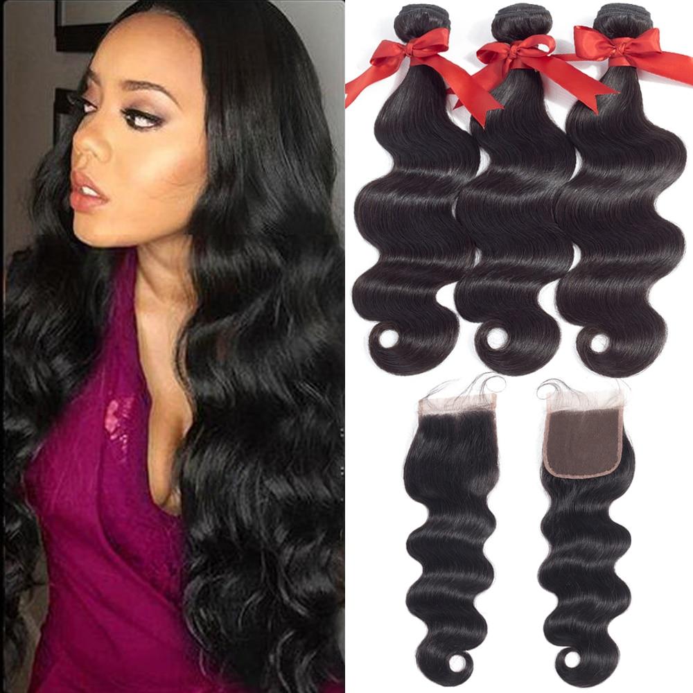 Beaudiva Brazilian Body Wave Human Hair Extensions Human Hair Bundles With Closure Brazilian Hair Weave Bundles With Closure