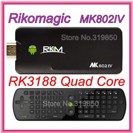 [Free RC11 air mouse] 2G 8G Rikomagic MK802IV RK3188 Quad Core Android 4.4.2 Smart Mini TV Box HDMI PC Stick Dongle Bluetooth