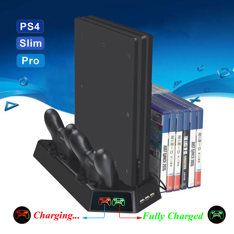 PS4 Slim Pro LED Vertical Stand Play Station 4 Cooling Fan Cooler Dual Joystick Charger Charging Dock Station for Playstation 4