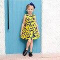 Новое Прибытие 2017 Модные Девушки Платье Лето Весна Осень Детская Одежда Хлопок Детская Одежда Желтый Бесплатная Доставка