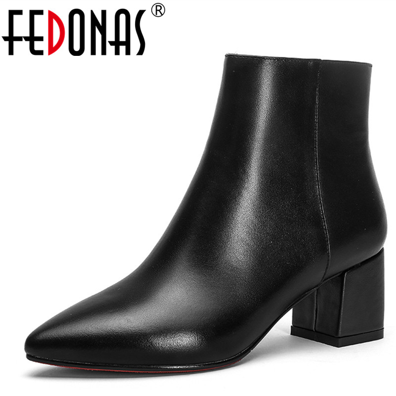 FEDONAS Women Ankle Boots Soft Genuine Leather Thick High Heel Ankle Boots Winter Autumn Warm Pointed Toe Martin Shoes Woman autumn winter women thick high heel genuine leather buckle side zipper pointed toe fashion ankle martin boots size 34 39 sxq0902