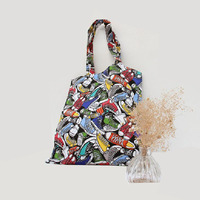 Reether Shoes Printed Canvas Shopping Bag Dialy Used Tote Bag Cute Bag Handbag Eco Friendly Student