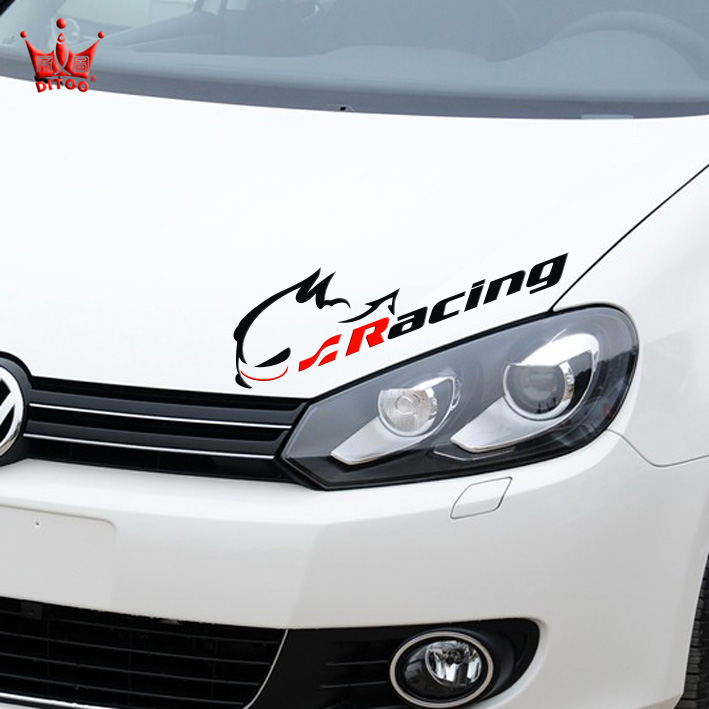 Product pictures head tail bumper car styling racing stickers evil rabbit car sticker decals for vw