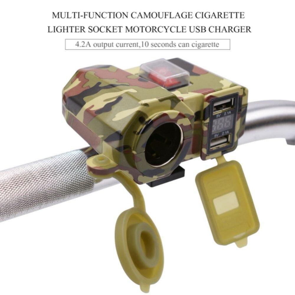 Motorrad Roller Griff Bar Montiert Ladegerät Wasserdicht Dual USB Ladegerät Adapter 12 v Moto Zigarette Leichter Buchse