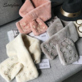 Beautiful pearl applique fur scarves child girl cowl neck 2017 female warm Rabbit fur scarf woman LIC bufanda infantil C025