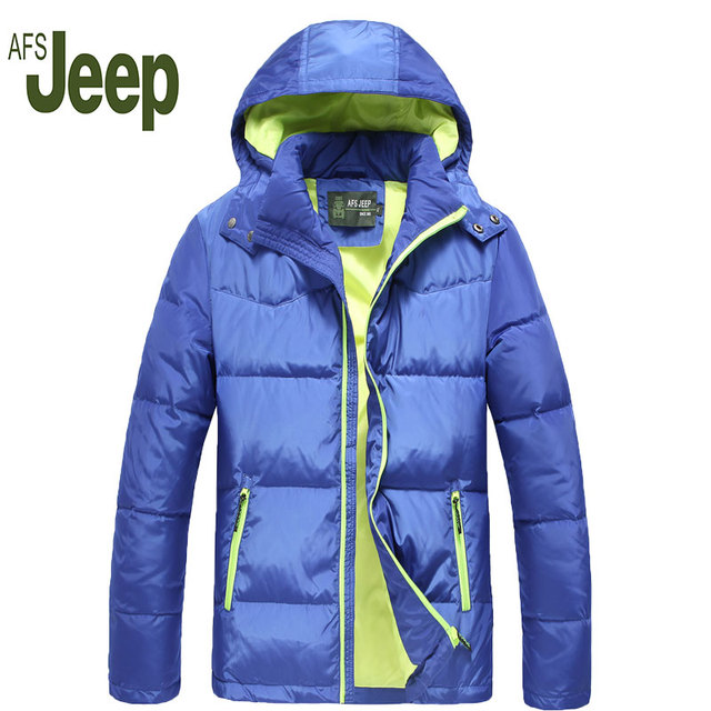 2016  White duck down fashion latest AFS Jeep Men's down jacket  men's warm winter coat thicker youth AFS Jeep winter jacket