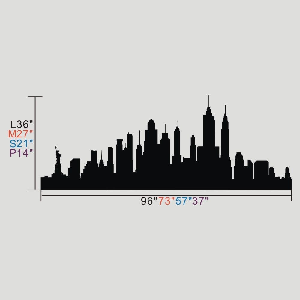 Poomoo Dinding Decals New York Kota Silhouette Wall Sticker Nyc Skyline Vinyl Keluarga Mural Decor City Skyline Wall Stickersilhouette Wall Sticker Aliexpress