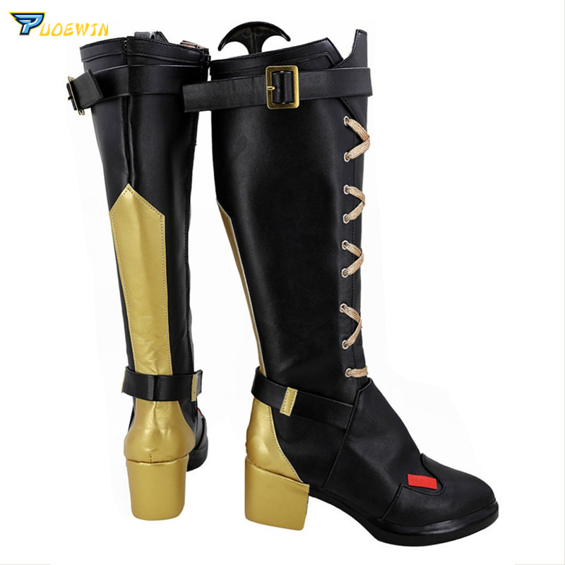 OW Ashe Cosplay High heeled Shoes for Women Game Cosplay Ashe High Boots Zipper Shoes Black Golden Custom Made in Shoes from Novelty Special Use