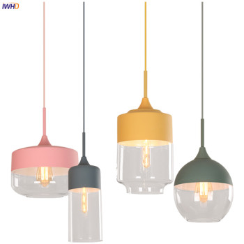 IWHD Nordic Modern LED Pendant Lights Fixtures Bedroom Dinning Living Room Light Colorful Glass Pendant Lamp Indoor Lighting iwhd american crystal vintage pendant lights living dinning room metal industrial lighting fixtures lamp lustres de cristal