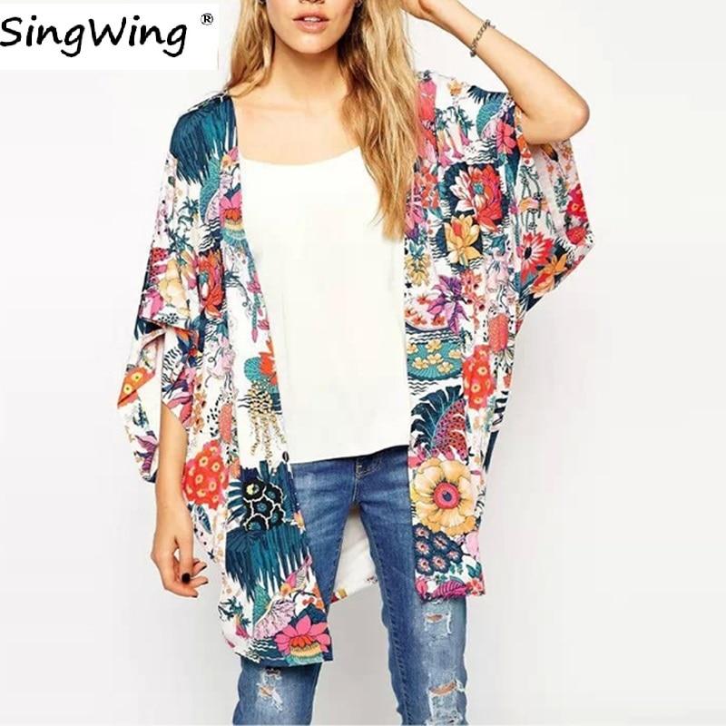 Singwing Women Summer Kimono Women Print Floral Blouses Loose Type Chiffon Kimonos Regular Floral Printed Blouse