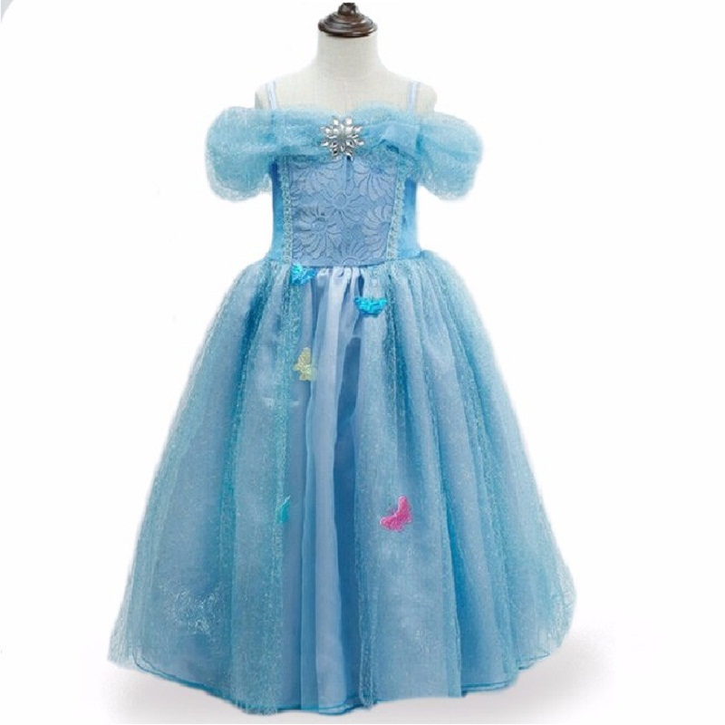 Christmas Girl Dress Princess Dresses Cinderella Dresses Anna Elsa Cosplay Costume Kids Party Dress Baby Girls Clothes children anna elsa princess birthday dresses cosplay party fancy costume with cape christmas dress child blue red clothes kids
