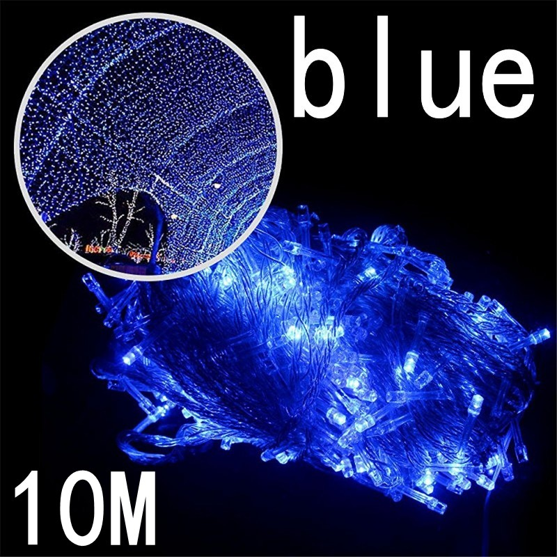 Blue Outdoor String Lights 10M Led Garland String Fairy Light 8 Mode Christmas Light Holiday Wedding Party