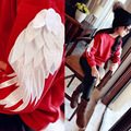 Children's Winter New Pattern Garment Increase Down Unlined Upper Embroidery Fleece T-shirts Kids Clothing Wings Red Cotton
