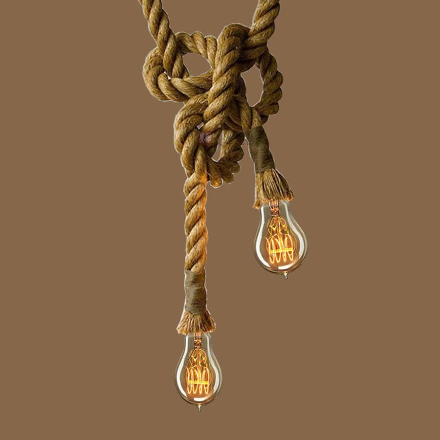 Lámpara colgante hecha a mano estilo rústico americano E27 soporte de lámpara cuerda colgante lámpara de habitación