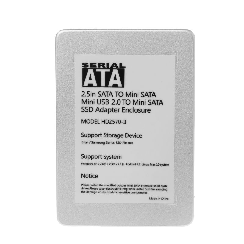 Mini SATA USB 2.0 to SSD Adapter External HDD Enclosure Hard Disk Caddy