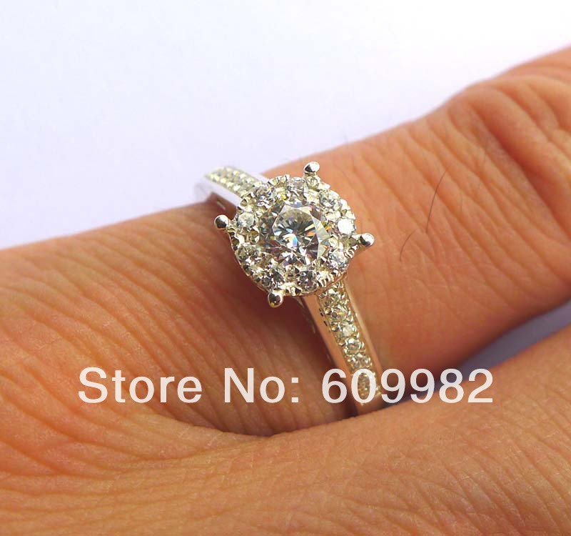 Wellmade CZ Stones Solid 925 Sterling Silver Engagement Ring