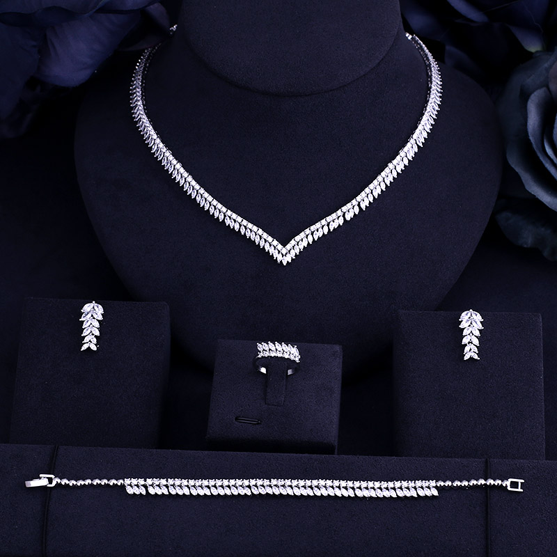 Luxury Real Micro Pave Setting AAA Cubic Zirconia Leaves Shaped 4pcs Dubai Jewelry Set For Dinner Party