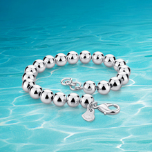 Fashion round bead bracelet with 925 sterling silver jewelry bangle, men's and women's simple  individual character style