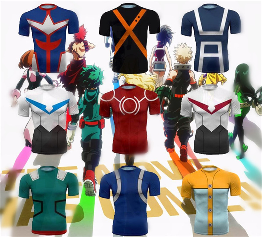 My Hero Academia Top Cosplay Costume Short sleeve Hero Uniforms Anime T Shirts Men Women College in Movie TV costumes from Novelty Special Use