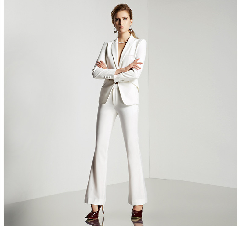 Custom made slim fit white suit office ladies work wear for Best custom made dress shirts online