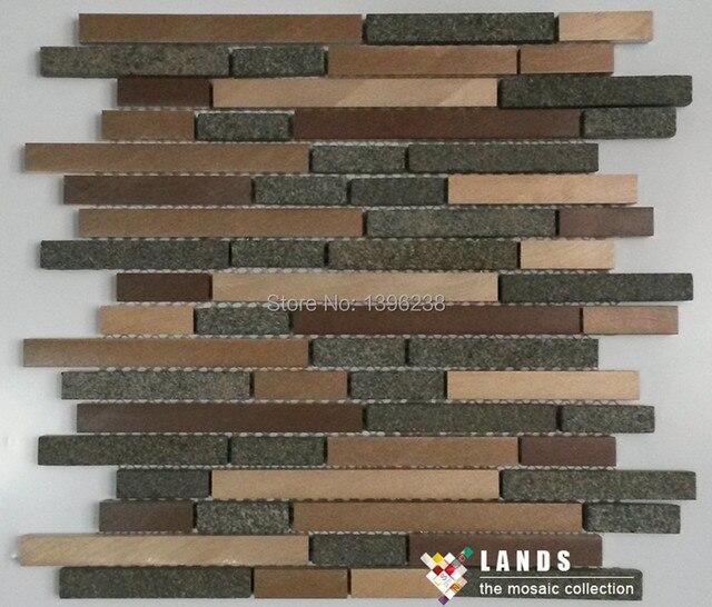 Black Granite Mixed Aluminium Metal Mosaic Tiles For Tv Kitchen Backsplash Bathroom Wall