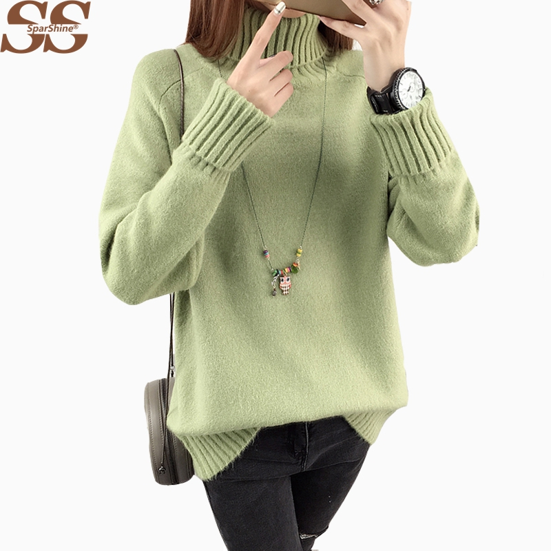 2017 Winter Long Sleeve Turtleneck Casual Knitting Tops Pull Femme Women Sweaters And Pullovers Christmas Sweater Woman Top