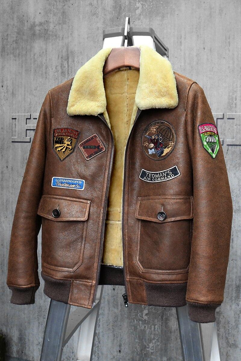 pretty nice 52022 0be7c Courte Jacket Veste Brun Vêtements De Mans D agneau En Flight Cuir Aviateur  Mouton Marron Peau Hommes Manteau Fourrure qUZwxnXF1Z