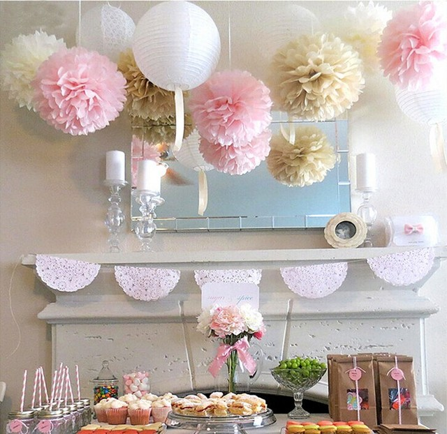 11pcs Wedding Series Tissue Paper Pom Poms Lanterns Party Decoration Fluffy Flowers Sweet