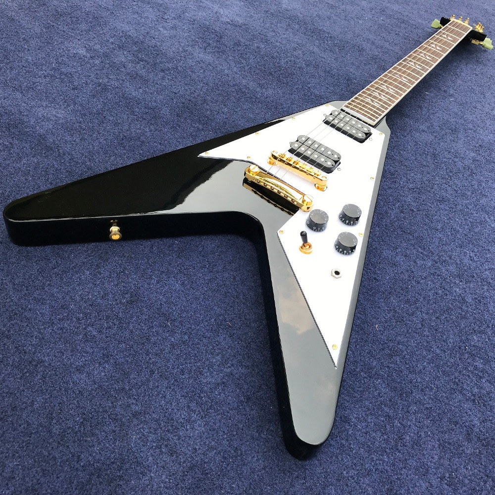 high Quality Factory Custom Flying V Electric guitar, Flying V shape in black color,Real photo showing free shipping new factory guitar jackson custom black flying v teenage mutant ninja turtles electric guitar 151007
