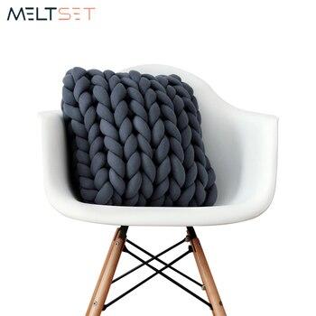 Trenza anudado almohada cojín de punto suave, hilado núcleo hilado almohada hecha a mano nudo decorativa bola sofá cojines almohadas