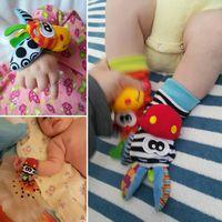 Cartoon Baby Speelgoed Pols Band Sokken Dier Pluche Rammelaars kinderen Speelgoed 0-12 Maanden Pasgeboren Voet Finder Sok pasgeboren Rammelaar 2