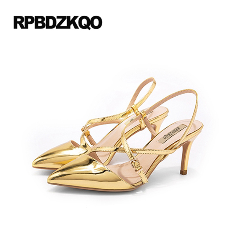 Cross Strap Pumps D orsay Women Thin Metallic Gold Strappy High Heels  Patent Leather Shoes Big Size 3 Inch Runway Slingback 33 c0bb87387689