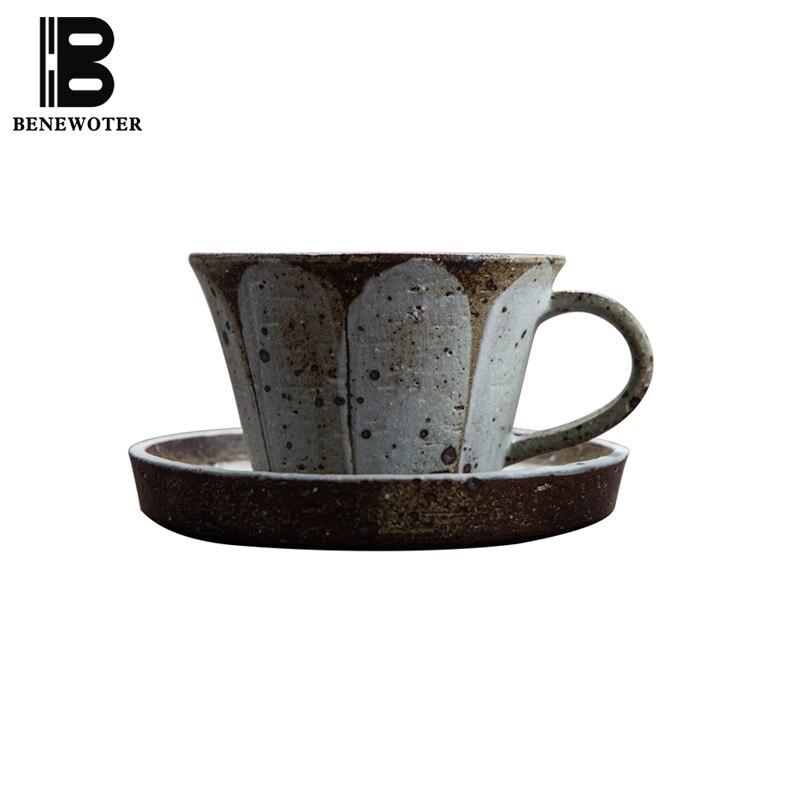 Tasse à café en poterie grossière faite main de Style japonais 280 ml avec kit Sasucer tasse Cappuccino thé de l'après-midi tasse Vintage cadeau boisson