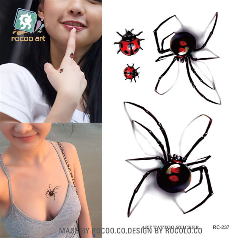 harajuku waterproof temporary tattoos for lady women individuality 3d spider insect design tattoo sticker Free Shipping RC2237 in Temporary Tattoos from Beauty Health