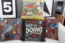Europe America Graffiti pillow ,Creative cartoon cushion ,Linen pillowcase,home decor sofa cushion,decorative Pillows