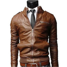 ใหม่มาถึงPUหนังชายStand Collarสีทึบเสื้อแจ็คเก็ตชายเสื้อแจ็คเก็ตหนังผู้ชายเสื้อผ้า