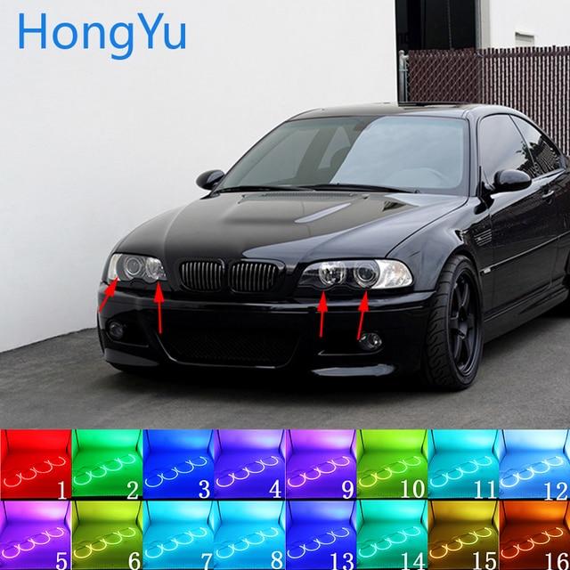 Yeux dange Halo multicolore avec télécommande RF pour BMW 1998  03, E46, accessoires de projecteur, dernier phare, RGB LED