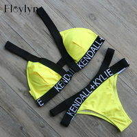 ABOUTTHEFIT Women S Yellow Letters KENDALL KYLIE Letter Triangle Bikini Set Cut Out Swimwear Swimsuit Beach
