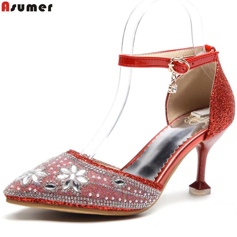 ASUMER red gold silver pointed toe buckle thin heel fashion wedding shoes woman crystal women high heels shoes plus size 33-46
