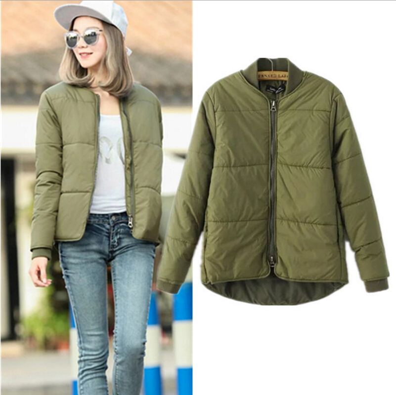 ФОТО 2016  Winter  Jacket Women Aviator Jacket Army Green Baseball Jackets Chaquetas Mujer Jaqueta Feminina Coat Women w-028