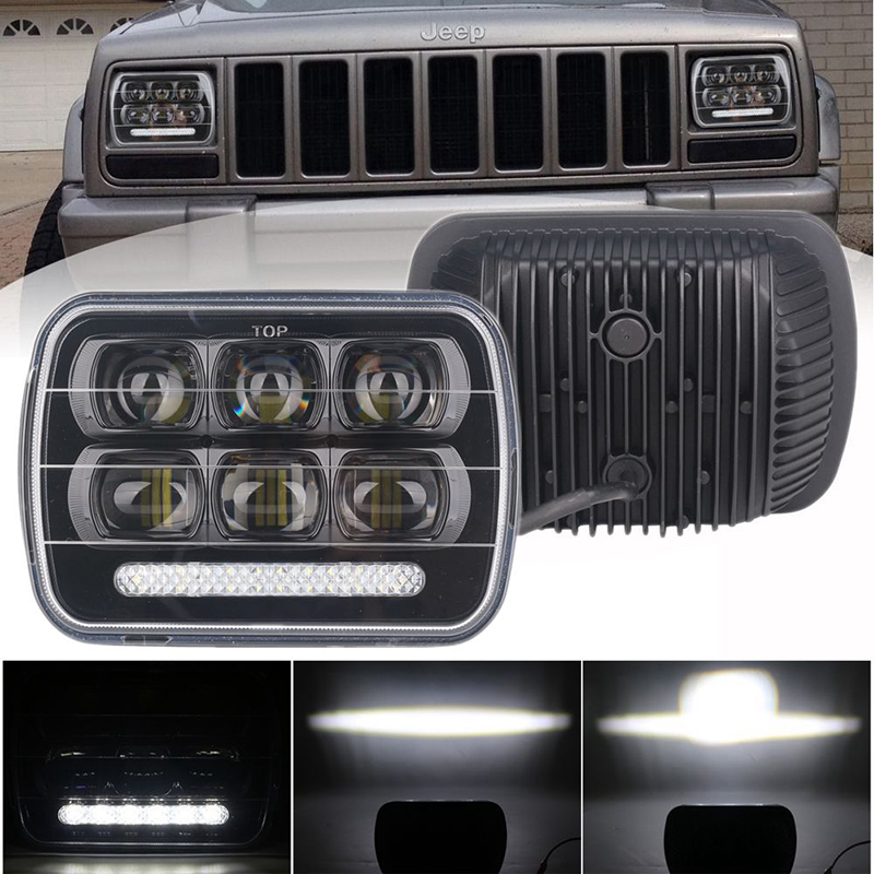 2Pcs 7 x 6 5 x 7 60W Square High Levels 7 Inch LED Headlight for