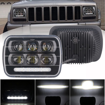 2Pcs 7 x 6 (5 x 7) 60W Square High Levels 7 Inch LED Headlight for Cars with DRL fit for Chevrolet Astro, for Jeep Cherokee XJ